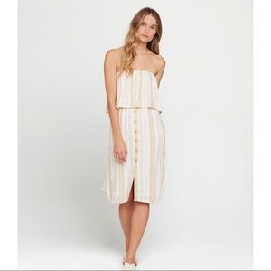 L*space White Striped Strapless Summer Dress - M